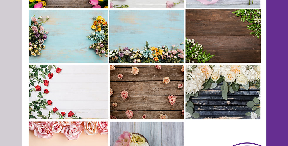 A3 Background Boards - Wood Floral