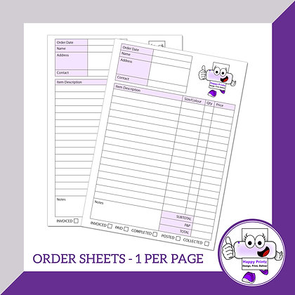 Order Sheets - 1 per page (personalised)