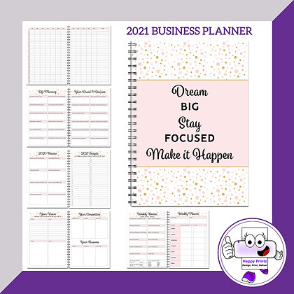 2021 Business Planner - Pink and Gold