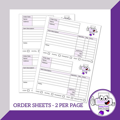 Order Sheets - 2 per page (Personalised)