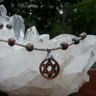 Magen David, handpainted African wooden beads, shell