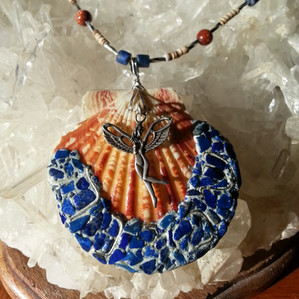 Shechinah with lapis, shell, goldstone