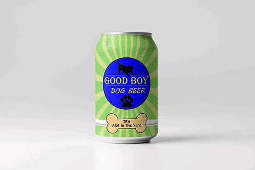 Good Boy Dog Beer IPA lot in the yard