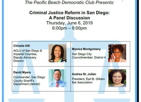 June 6th Meeting will feature a panel on Criminal Justice Reform in San Diego