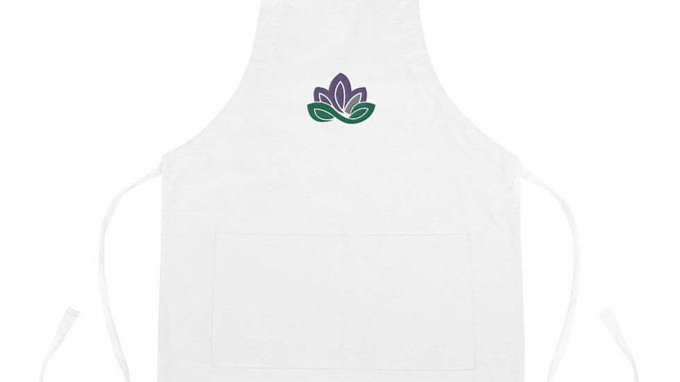 Lotus Flower Embroidered Apron