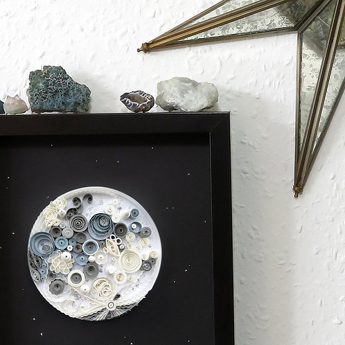 'Under The Same Moon' Original Framed Quilled Paper Art