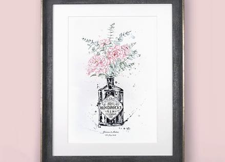 Bespoke Original Watercolour Painting - Bottle Vase