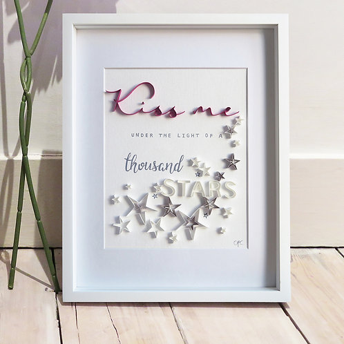 'Kiss me' Original Framed Quilled Paper Quote - Deep Pink Design