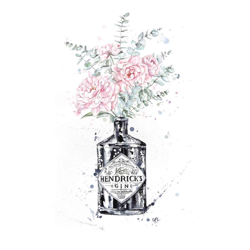 Bespoke Watercolour Hendrix Gin - Peony