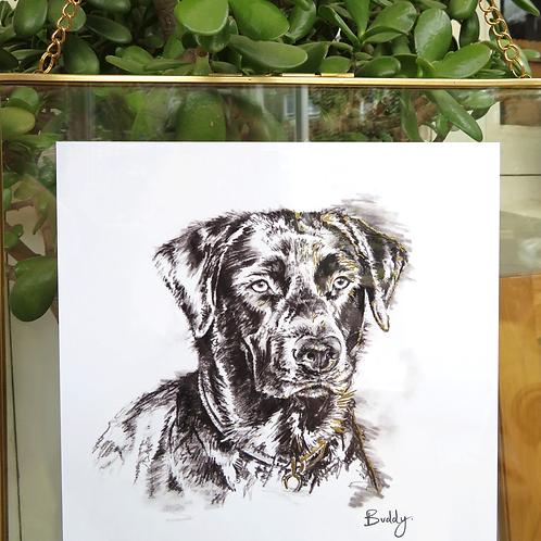 Bespoke 5B & Gold Pet Portrait Print With Gold Leaf