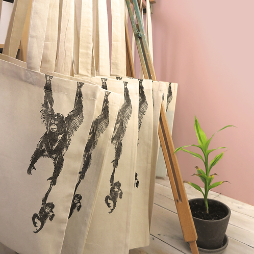 Orangutan 100% Cotton Hand Printed Tote Bag
