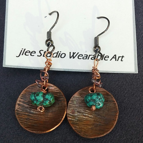 Textured Copper with Turquoise Nuggets Earrings