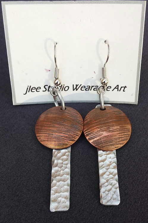Textured Alum. Sticks with Textured Water Disc's Earrings