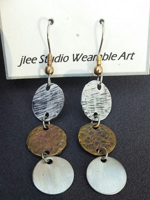 Textured Disc's of Textured Alum., Brass, and Shiny Alum Earrings