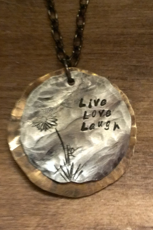 Live, Laugh, Love...  Double Scoop Round Pendant