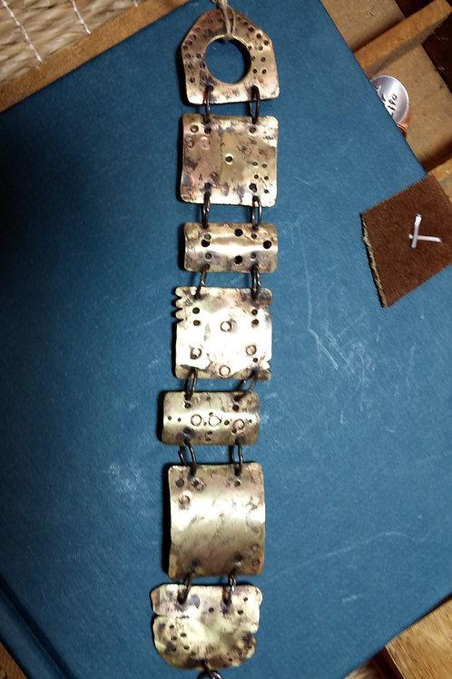 Brass Multi-Shaped Distressed Bracelet