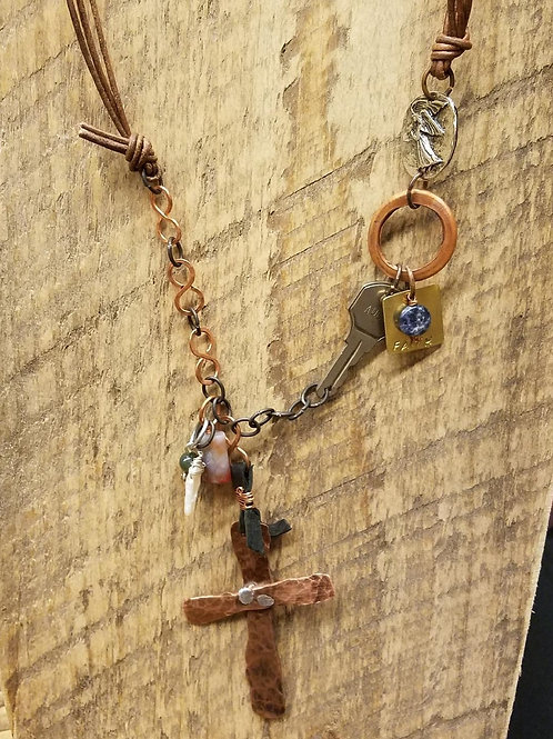 Found Objects Necklace - Hammered Copper Cross