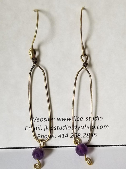 Large Brass Link with Amethyst