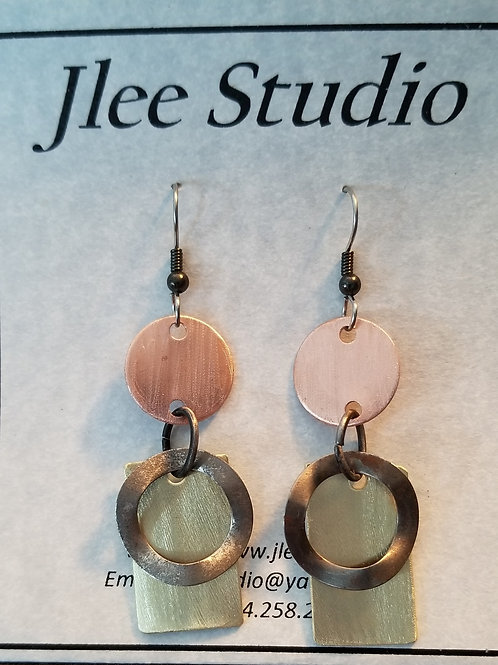 Copper, Brass and Steel Earrings