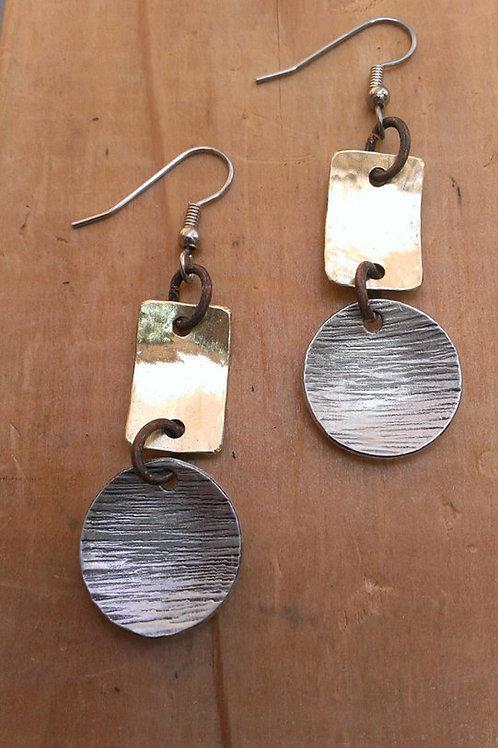 Drop the Hammer! Hammered Brass & Texture Alum Earrings