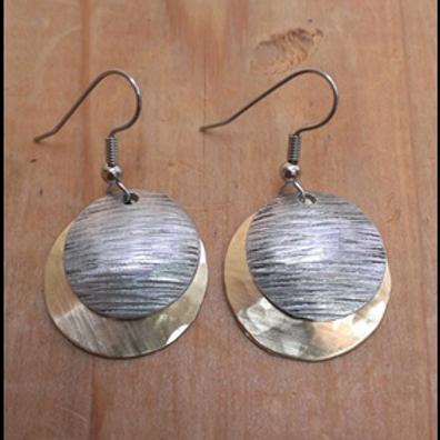 Hammered Brass & Texture Alum Earrings