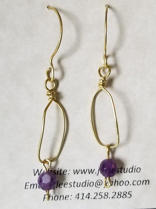 Small Brass Link with Amethyst