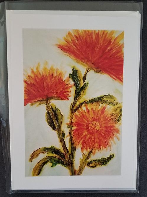 Original Print - Trio of Orange Flowers (4 pack)