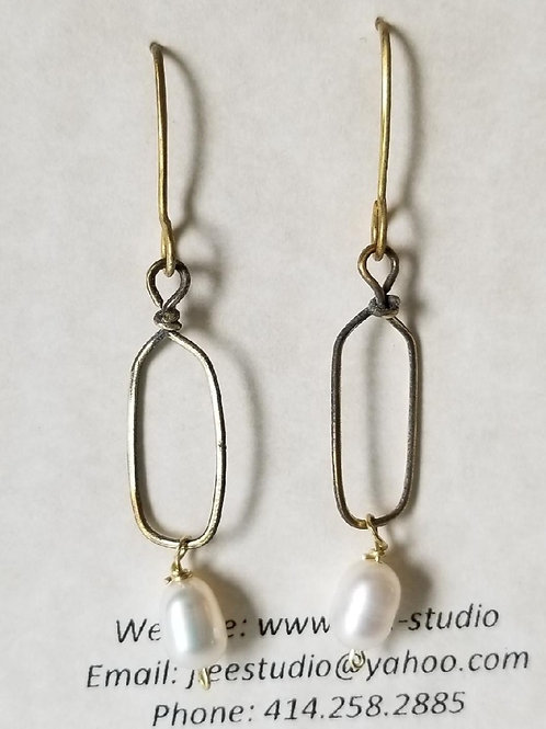 Small Brass Link with Fresh Water Pearl