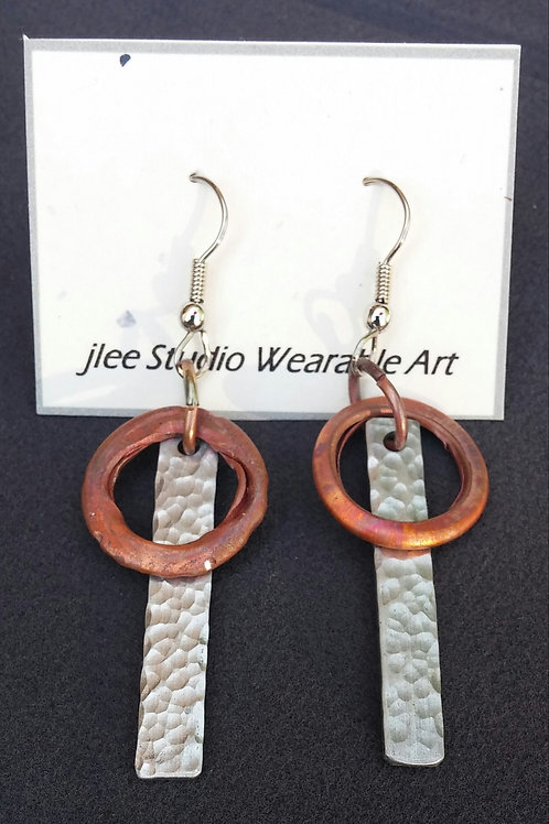 Textured Alum. Sticks with Repurposed Copper Water Pipes Earrings
