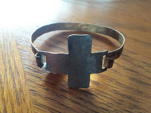 Hammered Cross with Decorative Cuff Bracelet
