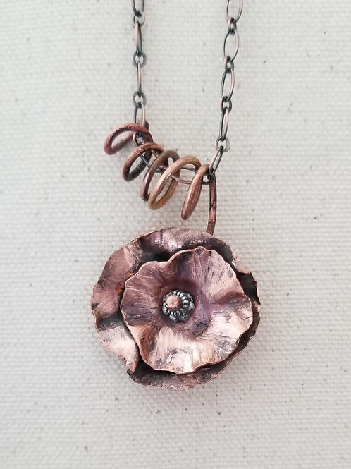 Abstract Copper Flower with Vine Necklace