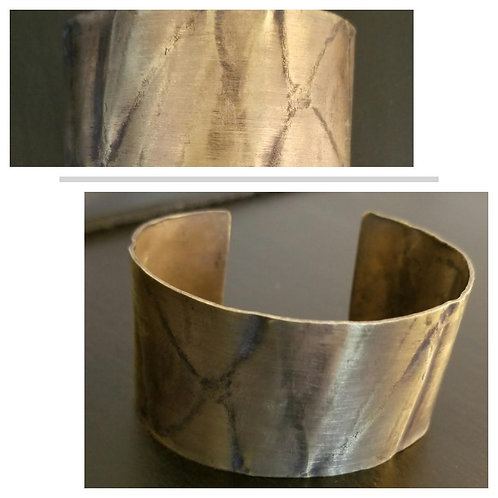 Brass Texture Cuff - Wide