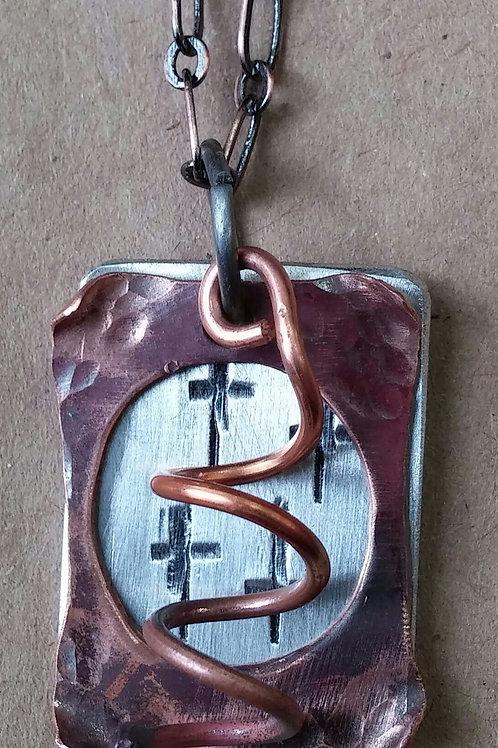 The 4 Crosses Pendant w/copper fringe