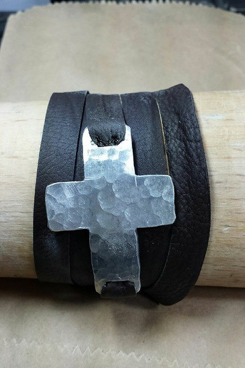 Hammered Cross Wrap Bracelet