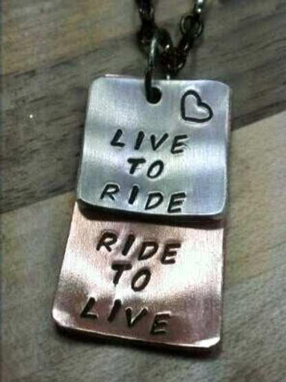 Live to Ride... Ride to Live... 2 Stack Pendant