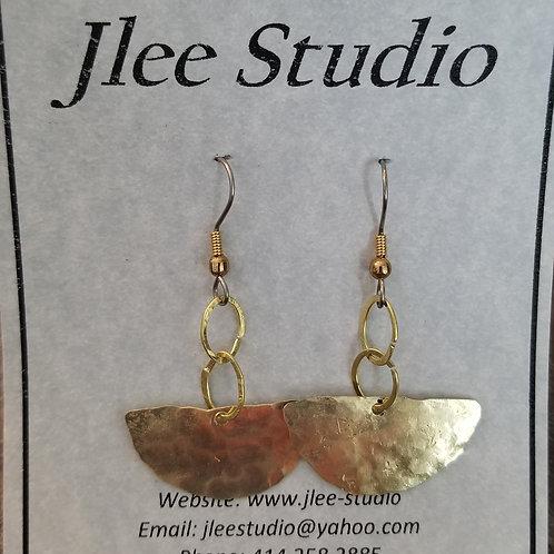 Textured Half Circle Brass Earring