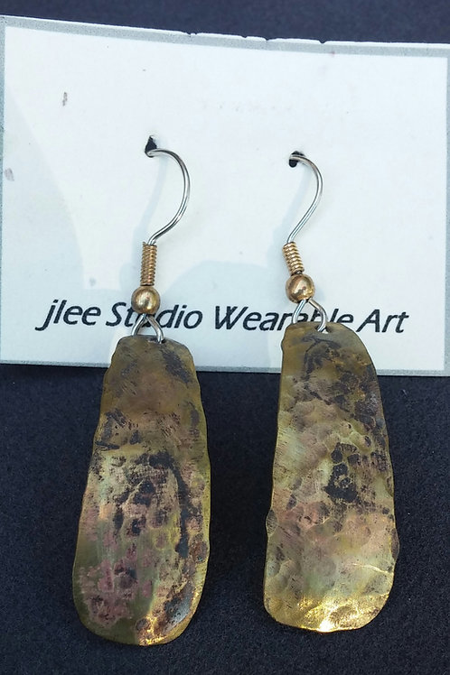 Distressed Brass Teardrop Earrings