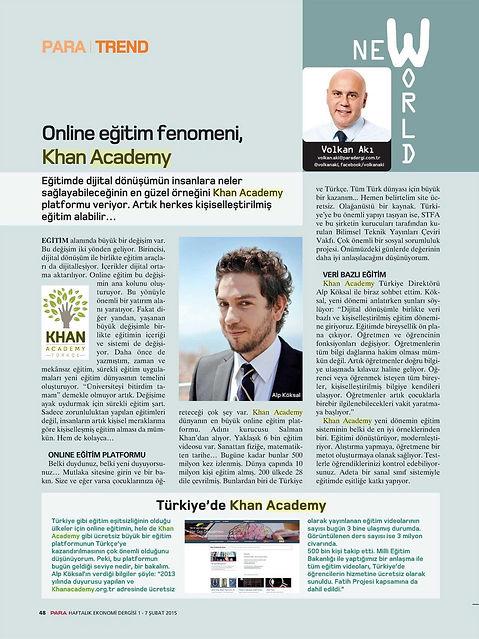 Alp Köksal - Online Eğitim Fenomeni Khan Academy, Para Dergisi Haberi