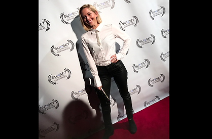 Emily Killian at the red carpet for the Sunset Film Festival