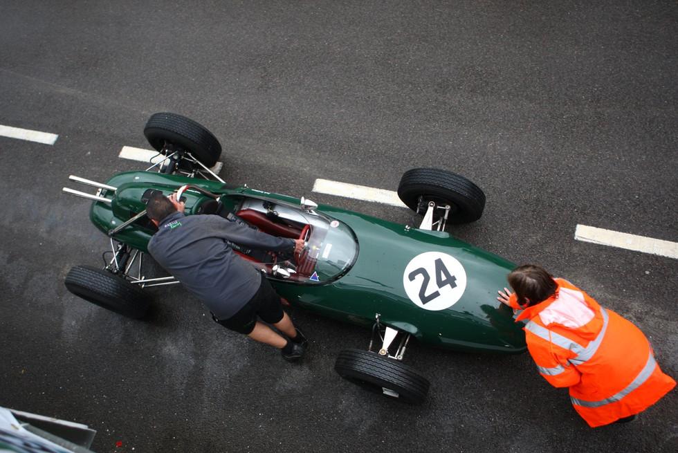 Lotus F2 Car Being Pushed Back To Garage, Goodwood 2014