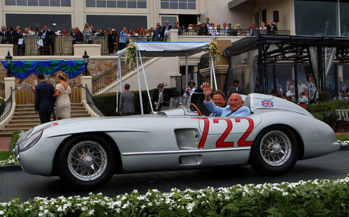 Sir Stirling Moss in His 1055 Winning Mille Miglia 300 SLR