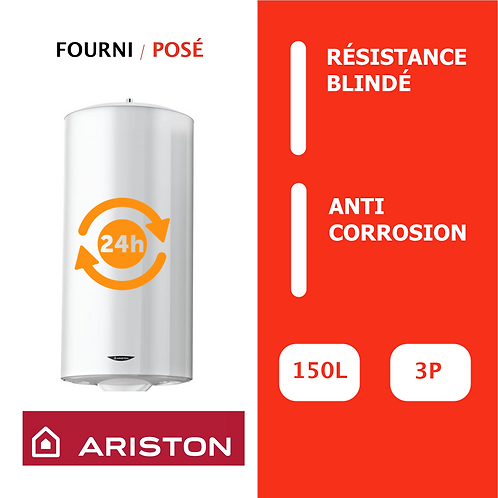 Chauffe-eau 200L Ariston Blindé, Vertical, Mural