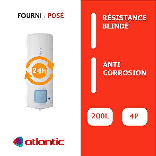 Chauffe-eau 200L Atlantic Blindé, Vertical, Stable sur socle
