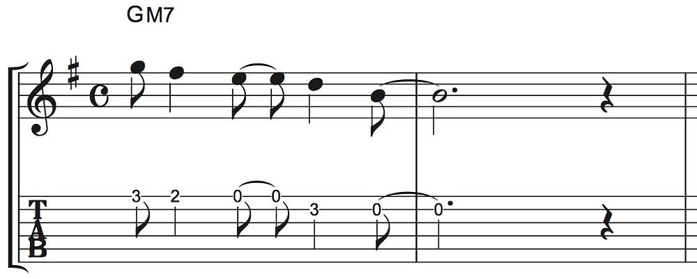 譜尾のあるタブ譜の例