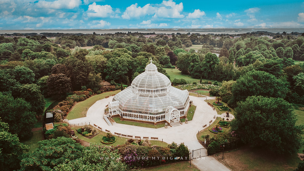 Drone image of the Palm house at Sefton Park