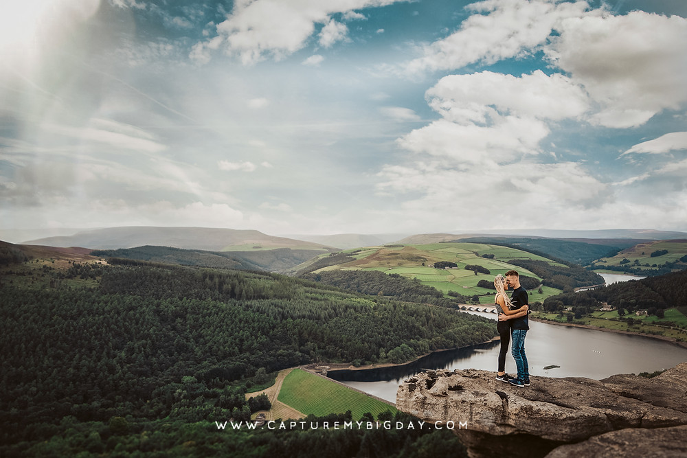 engagement shoot on top of cliff edge