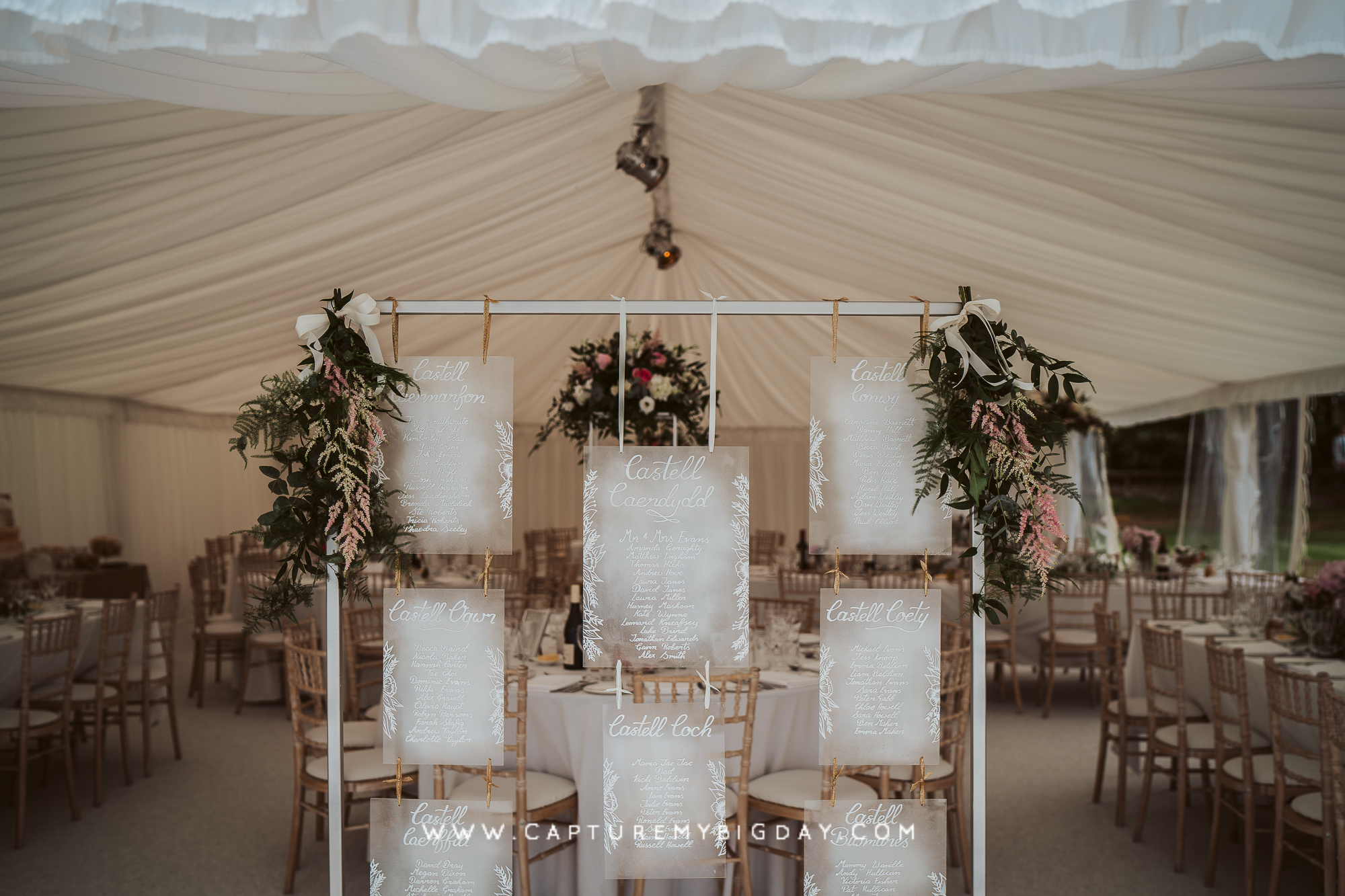 inside wedding marquee at capesthorne hall