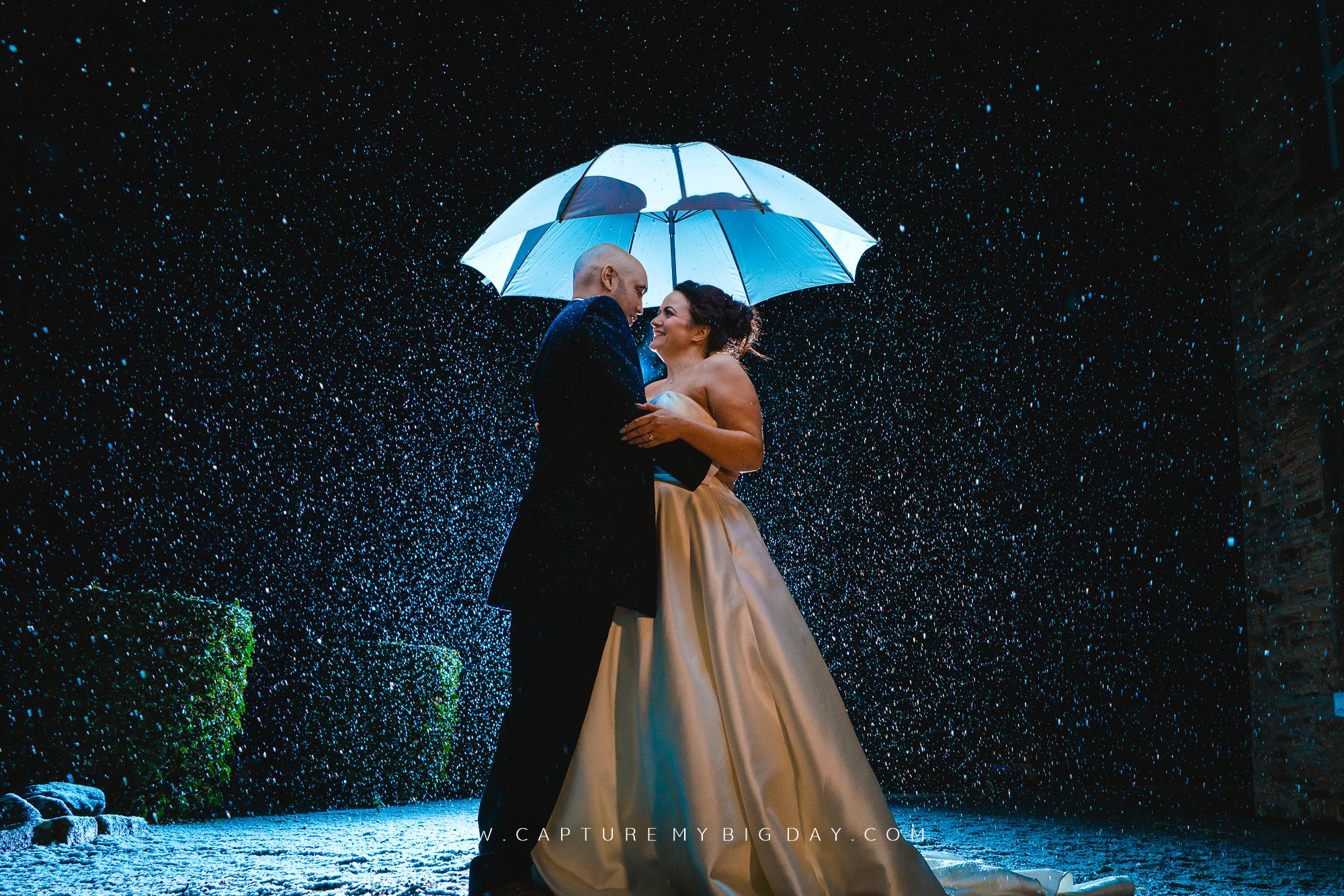 bride and groom in rain outside under white umbrella