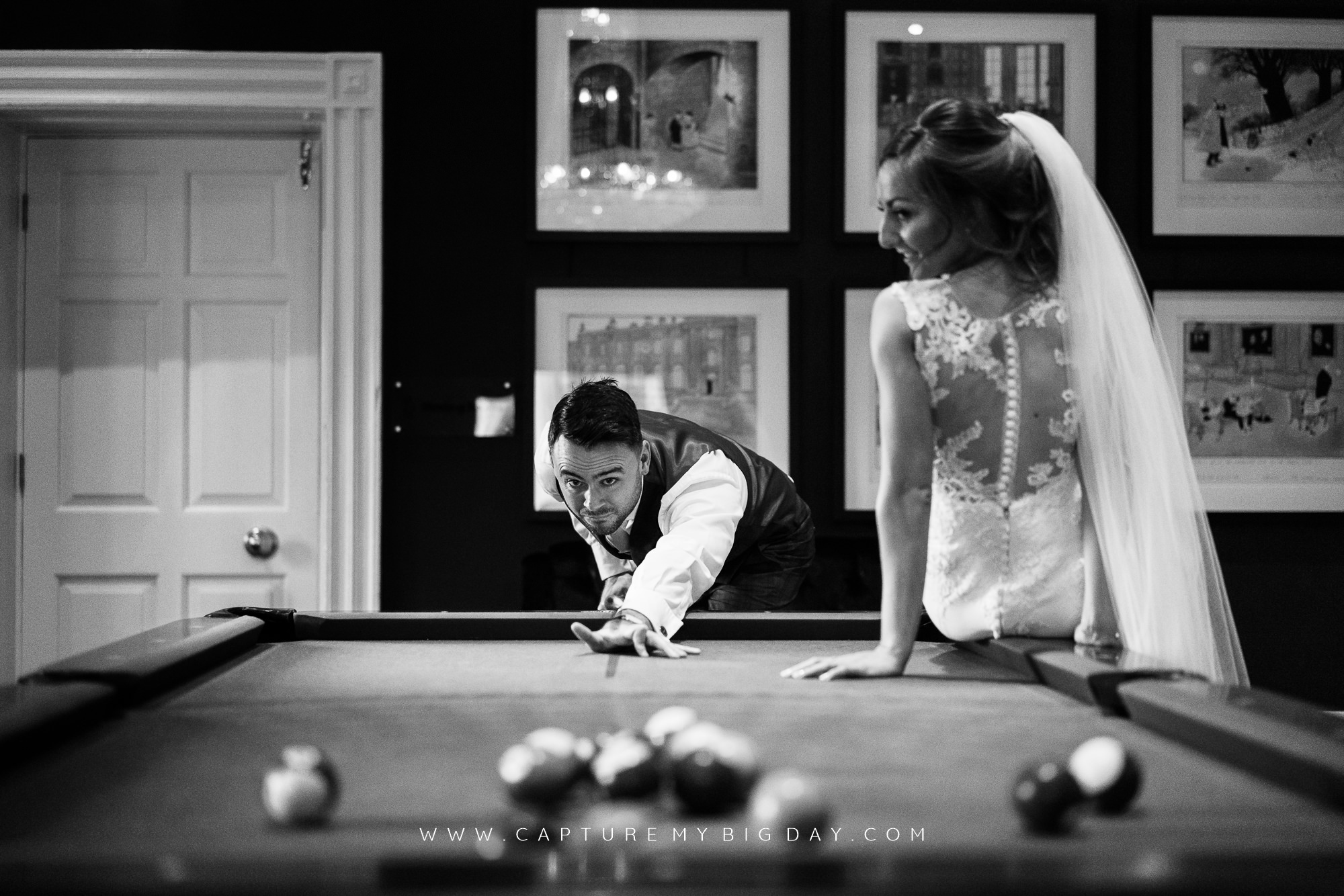 bride and groom pool table
