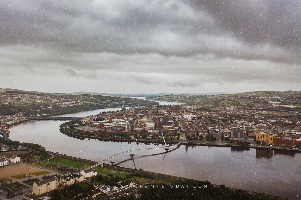 Drone image of Londonderry City in Northern Ireland while raining